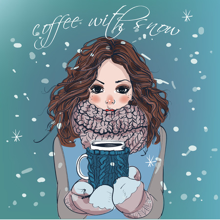 fashion illustration: portrait of cute winter cartoon  girl with coffee cup