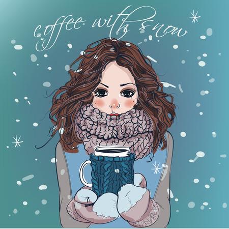 Retrato de la chica linda de la historieta del invierno con la taza de café Foto de archivo - 52266371