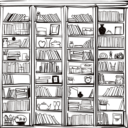 Vector of library book shelf background. Vector flat illustrations. Ilustração