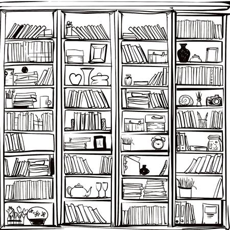 Vector van de bibliotheek boekenplank achtergrond. Vector flat illustraties. Stock Illustratie