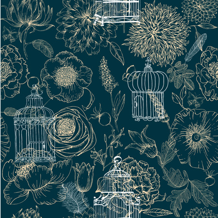 old vintage: Hand-drawn seamless pattern of various vintage keys and cages Illustration