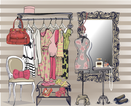 colorful interior vector illustration with women wardrobe Stock Illustratie