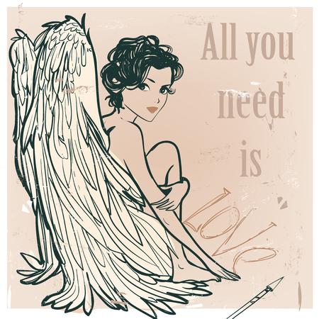 천사 소녀 흰색 날개입니다. 벡터 일러스트 레이 션
