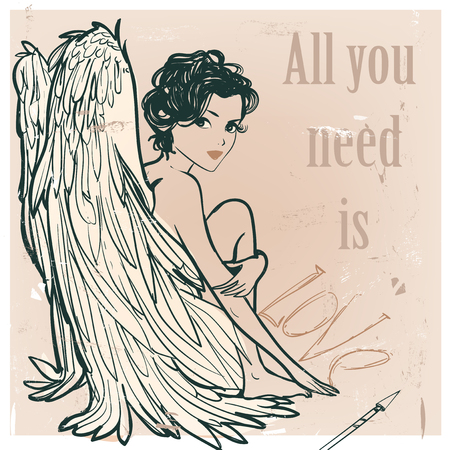 Angel girl with white wings. vector illustration Banco de Imagens - 52266356