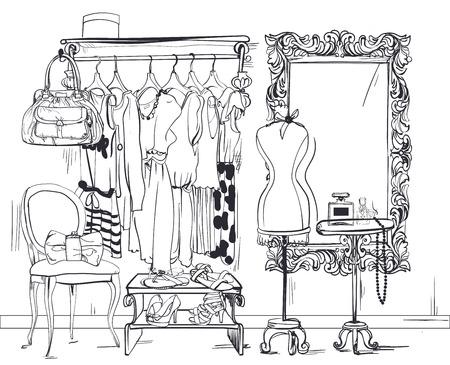 colorful interior vector illustration with women wardrobe Vectores
