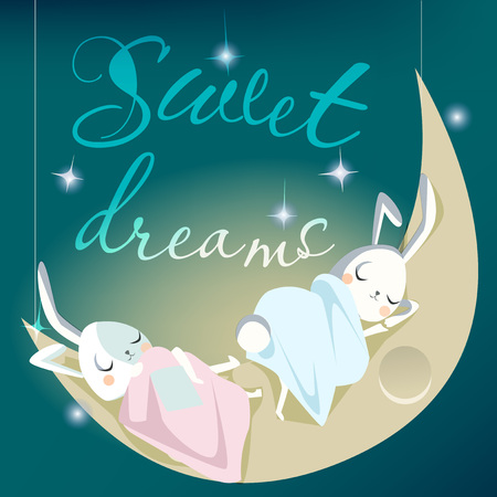 stars  background: sleeping white bunny kids - vector illustration