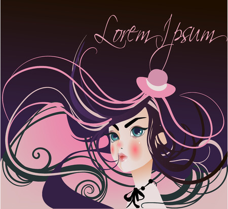 woman hair: portrait of a young attractive woman with long hair Illustration