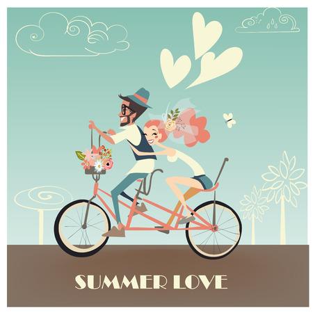 自転車に乗って幸せなビンテージかわいい結婚式のカップル  イラスト・ベクター素材