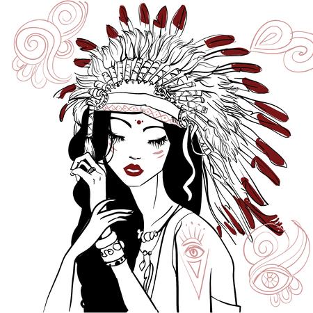 portret van jonge mooie inheemse Amerikaanse vrouw Stock Illustratie