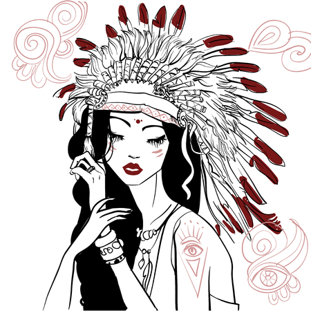 portrait of young beautiful native american woman Illustration