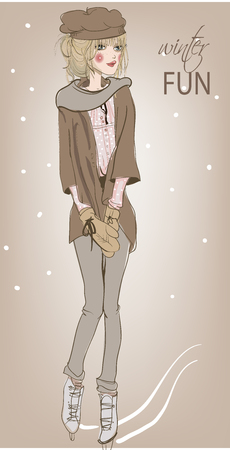 스케이트에 젊은 아름다운 여자 일러스트