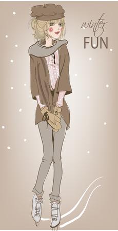 femme papillon: belle jeune femme sur les patins
