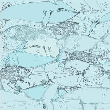 fish illustration: seamless background with different kinds of fish