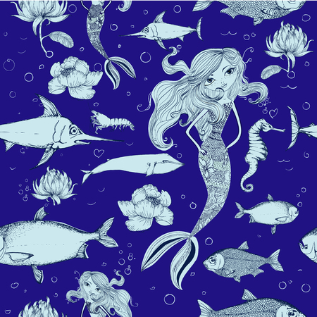tileable: seamless background with different kinds of fish and mermaid