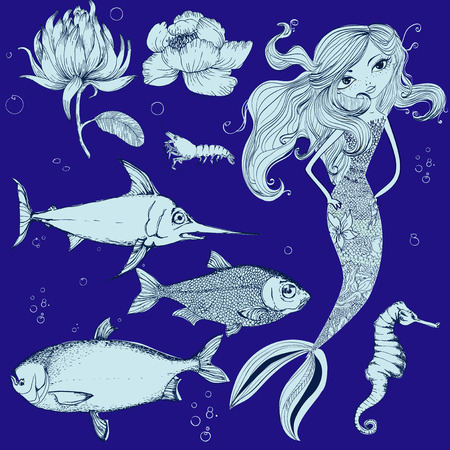 flying fish: seamless background with different kinds of fish and mermaid