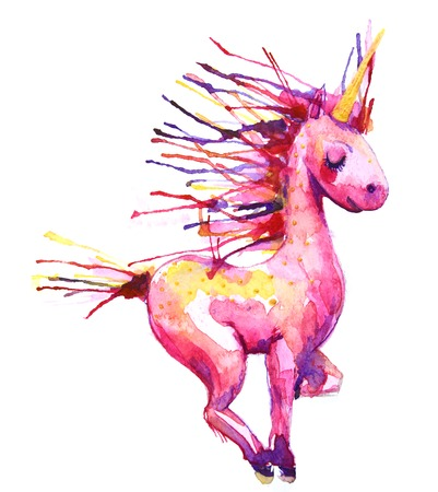 Watercolor unicorn on field illustration. Hand drawn Imagens - 52583584
