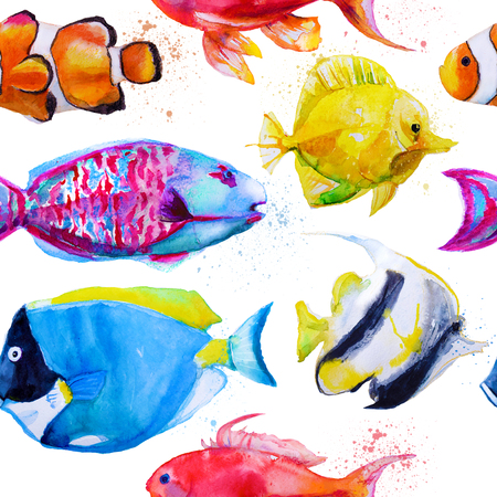 yellow tang: seamless pattern with hand drawn watercolor tropical fish Stock Photo