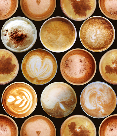 frothy: Sweet background. Seamless pattern with coffee cups Stock Photo