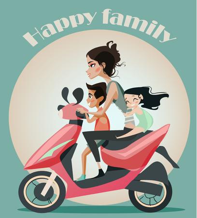 madre: Familia de cuatro personas en la moto. Vacaciones familiares