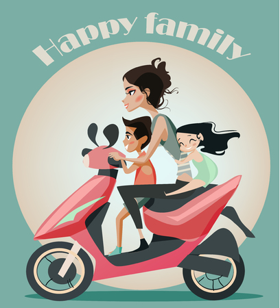 Family of four on motorbike. Family vacation