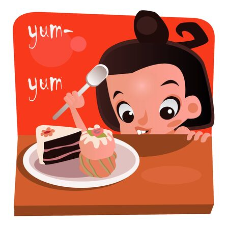 girl happy: little cartoon girl with desserts