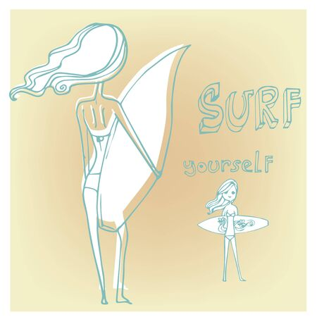 beauty girl pretty: Silhouette of a girl with a surfboard on the beach in a vector format