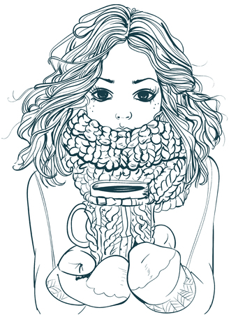 portrait of cute winter cartoon  girl with coffee cup