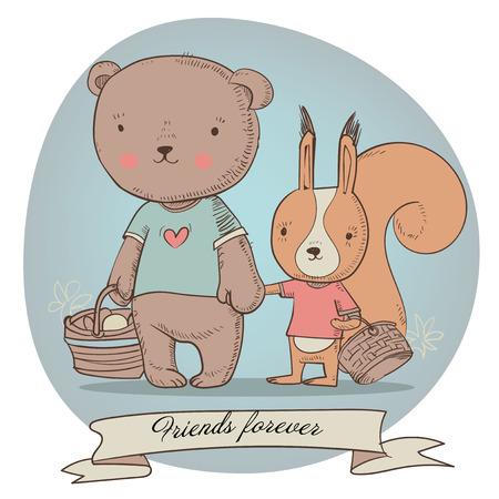 귀여운 친구 동물 - 다람쥐와 곰 레트로 카드 일러스트