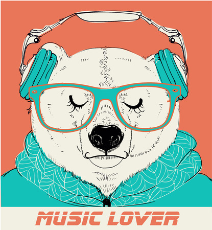 Portrait of Polar Bear with glasses and headphones