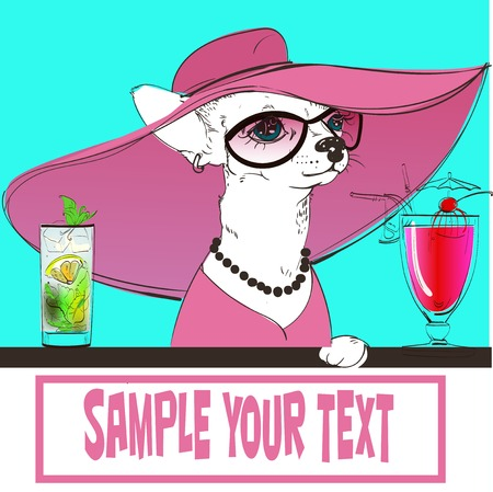 vacance: Cute portrait of a Toy Terrier with cocktails. Vector illustration. Illustration