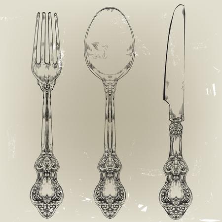 cocina antigua: dibujado a mano decorativa tenedor, cuchillo y cuchara