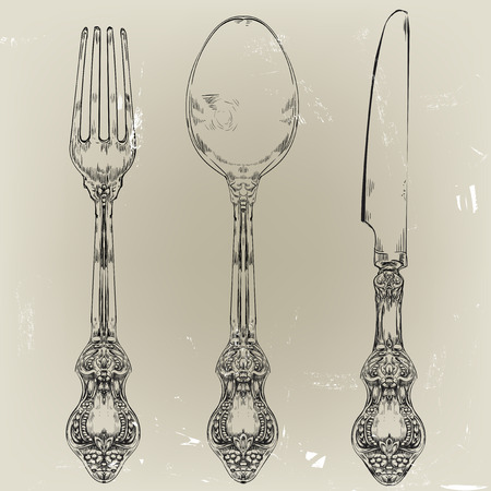 hand drawn decorative fork, knife and spoon