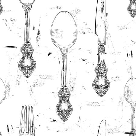 fork and knife: pattern with hand drawn decorative fork, knife and spoon