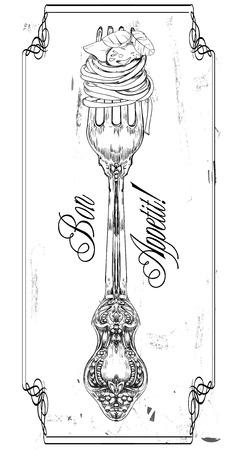 pasta: dibujado a mano decorativa tenedor con pasta Vectores