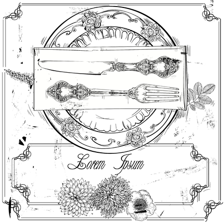 plate: hand drawn decorative fork, knife and plate
