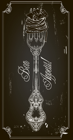hand getekend decoratieve vork met pasta en het frame