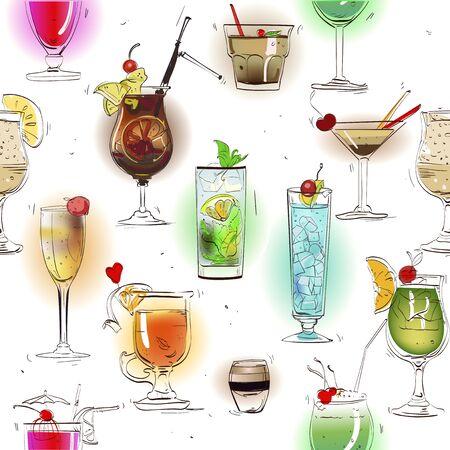 pattern avec des cocktails d'alcool classiques