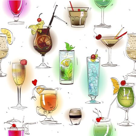 pina colada: seamless pattern with classic alcohol cocktails