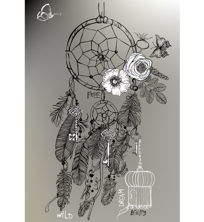 swelled: Indian Dream catcher in a sketch style. Vector illustration.