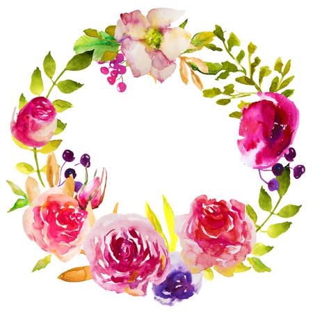 水彩花とハーブのブライト フレーム 写真素材