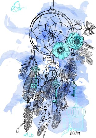 dreams: Indian Dream catcher in a sketch style. Vector illustration.