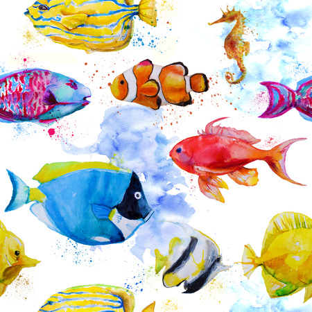 tang: seamless pattern with hand drawn watercolor tropical fish Stock Photo