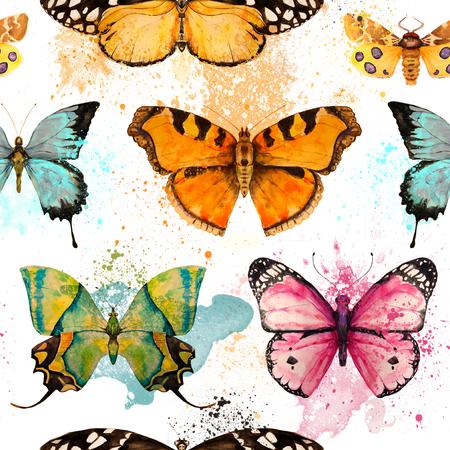 schmetterlinge blau wasserfarbe: nahtlose Muster mit Aquarell hellen bunten Schmetterling