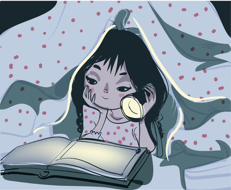 cartoon reading: A vector illustration of little girl reading a book in the bedroom under a blanket using a flash light