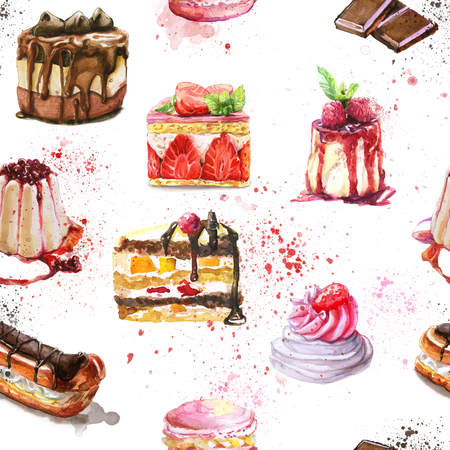 Seamless pattern with watercolor hand painted sweet and tasty cakes with strawberry, blueberry and other berries. Hand painted fruit dessert background perfect for fabric textile or menu wallpaper