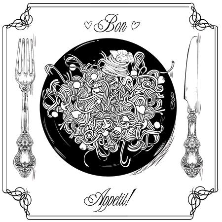 medley: Spaghetti - menu or restaurant card Illustration