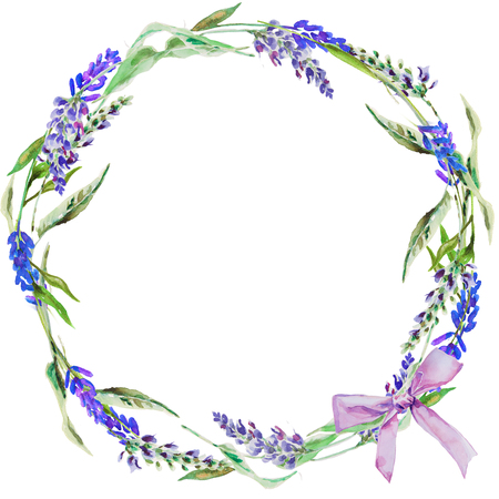 Circle of hand drawn lavender flowers .Greeting card or Invitation.