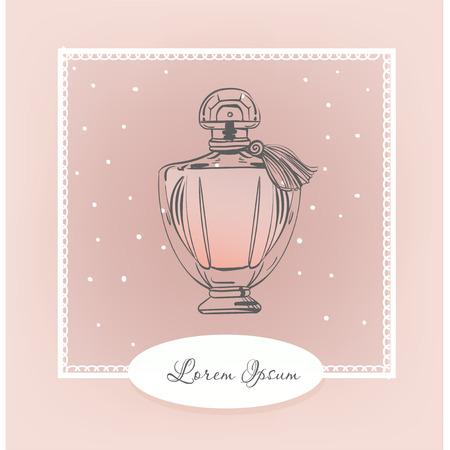 vintage bottle of perfume. vector fashion illustration.