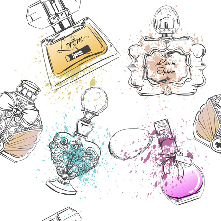 seamless pattern with perfumes