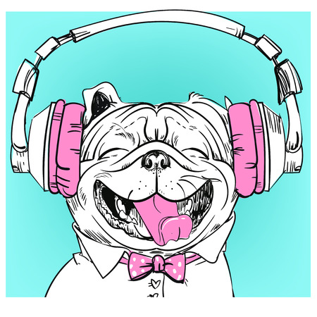 Cute portrait of a dog with headphones. Vector illustration. Illustration